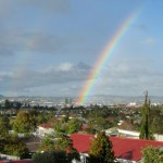 Double rainbow seen from the kitchen: not rare in Auckland!